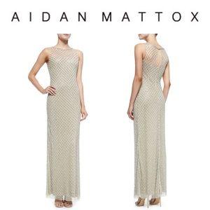 Aiden Mattox Beaded Diamond-Pattern Column Gown